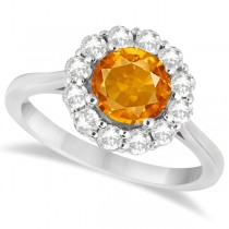 Halo Diamond Accented and Citrine Lady Di Ring 14K White Gold (2.14ct)