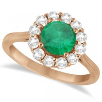 Halo Diamond Accented and Emerald Lady Di Ring 14K Rose Gold (2.14ct)