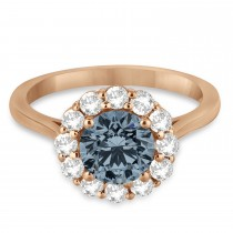 Halo Diamond Accented and Gray Spinel Lady Di Ring 14K Rose Gold (2.14ct)