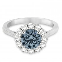 Halo Diamond Accented and Gray Spinel Lady Di Ring 14K White Gold (2.14ct)