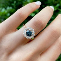 Halo Diamond Accented and Gray Spinel Lady Di Ring 18k Rose Gold (2.14ct)