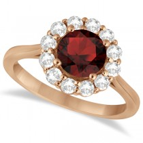 Halo Diamond Accented and Garnet Lady Di Ring 14K Rose Gold (2.14ct)