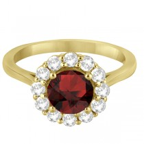 Halo Diamond Accented and Garnet Lady Di Ring 14K Yellow Gold (2.14ct)