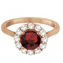 Halo Diamond Accented and Garnet Lady Di Ring 18k Rose Gold (2.14ct)