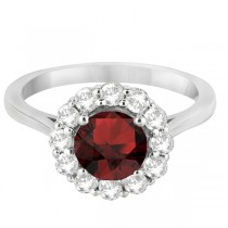 Halo Diamond Accented and Garnet Lady Di Ring 18k White Gold (2.14ct)