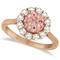 Halo Diamond Accented and Morganite Lady Di Ring 14K Rose Gold (2.14ct)