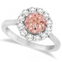 Halo Diamond Accented and Morganite Lady Di Ring 14K White Gold (2.14ct)