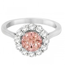 Halo Diamond Accented and Morganite Lady Di Ring 14K White Gold (2.14ct)