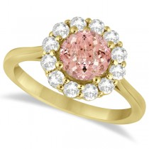 Halo Diamond Accented and Morganite Lady Di Ring 14K Yellow Gold (2.14ct)