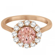 Halo Diamond Accented and Morganite Lady Di Ring 18k Rose Gold (2.14ct)