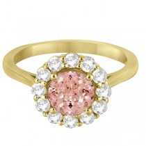 Halo Diamond Accented and Morganite Lady Di Ring 18k Yellow Gold (2.14ct)