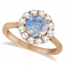 Halo Diamond Accented and Moonstone Lady Di Ring 14K Rose Gold (2.14ct)