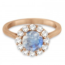 Halo Diamond Accented and Moonstone Lady Di Ring 18k Rose Gold (2.14ct)