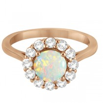 Halo Diamond Accented and Opal Lady Di Ring 14K Rose Gold (2.14ct)