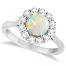 Halo Diamond Accented and Opal Lady Di Ring 14K White Gold (2.14ct)