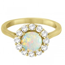 Halo Diamond Accented and Opal Lady Di Ring 14K Yellow Gold (2.14ct)