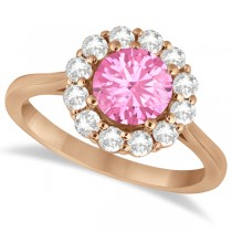 Halo Diamond Accented and Pink Tourmaline Lady Di Ring 14K Rose Gold (2.14ct)