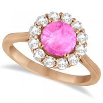Halo Diamond Accented and Pink Sapphire Lady Di Ring 14K Rose Gold (2.14ct)