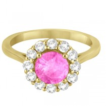 Halo Diamond Accented and Pink Sapphire Lady Di Ring 14K Yellow Gold (2.14ct)