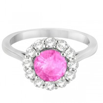 Halo Diamond Accented and Pink Sapphire Lady Di Ring 18k White Gold (2.14ct)