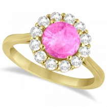 Halo Diamond Accented and Pink Sapphire Lady Di Ring 18k Yellow Gold (2.14ct)