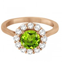 Halo Diamond Accented and Peridot Lady Di Ring 14K Rose Gold (2.14ct)