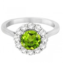 Halo Diamond Accented and Peridot Lady Di Ring 14K White Gold (2.14ct)