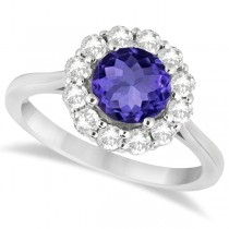 Halo Diamond Accented and Tanzanite Lady Di Ring 14K White Gold (2.14ct)