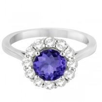 Halo Diamond Accented and Tanzanite Lady Di Ring 14K White Gold (2.14ct)