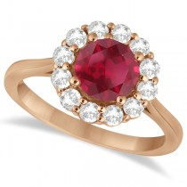 Halo Diamond Accented and Ruby Ring 14K Rose Gold (2.14ct)