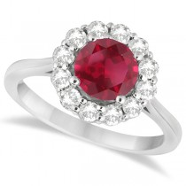 Halo Diamond Accented and Ruby Ring 14K White Gold (2.14ct)