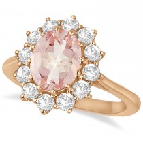 Oval Morganite and Diamond Ring 14k Rose Gold (3.60ctw)