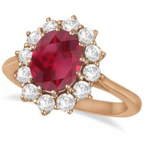 Oval Ruby and Diamond Ring 14k Rose Gold (3.60ctw)