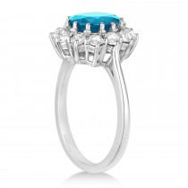 Oval Blue Topaz & Diamond Accented Ring in 14k White Gold (3.60ctw)