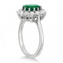 Oval Emerald and Diamond Ring 14k White Gold (3.60ctw)|escape