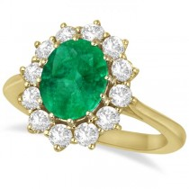 Oval Emerald & Diamond Accented Ring 18k Yellow Gold (3.60ctw)