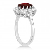 Oval Garnet and Diamond Ring 14k White Gold (3.60ctw)