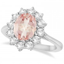 Oval Morganite and Diamond Ring 14k White Gold (3.60ctw)