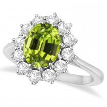 Oval Peridot & Diamond Accented Ring in 14k White Gold (3.60ctw)