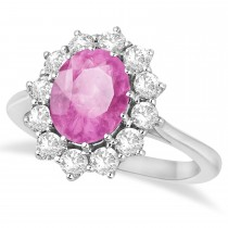 Oval Pink Sapphire & Diamond Accented Ring in 14k White Gold (3.60ctw)