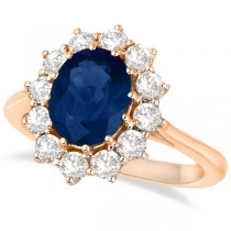 Oval Blue Sapphire & Diamond Accented Ring 14k Rose Gold (3.60ctw)