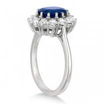 Oval Blue Sapphire & Diamond Accented Ring 18k White Gold (3.60ctw)