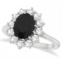 Oval Black & White Diamond Accented Ring 14k White Gold (2.80ctw)