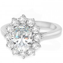 Oval Lab Grown Diamond Accented Ring 14k White Gold (2.80ctw)