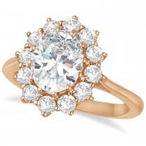 Oval Moissanite and Diamond Ring 14k Rose Gold (3.60ctw)