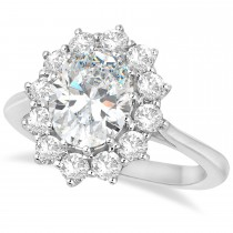 Oval Moissanite and Diamond Ring 18k White Gold (3.60ctw)