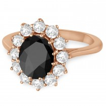 Oval Onyx and Diamond Ring 14k Rose Gold (3.60ctw)