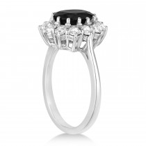 Oval Onyx and Diamond Ring 14k White Gold (3.60ctw)