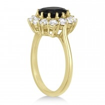 Oval Onyx and Diamond Ring 14k Yellow Gold (3.60ctw)