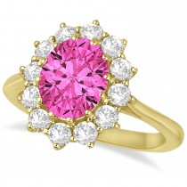 Oval Pink Tourmaline and Diamond Lady Di Ring 14k Yellow Gold (3.60ctw)